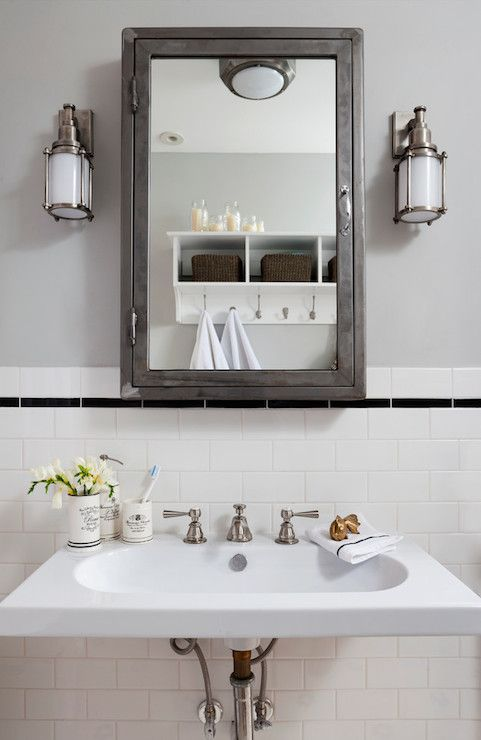 Gorgeous Bathroom Features Gray Upper Walls Lined With A
