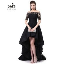 59bee0557 Fuera Del Hombro Vestido de Noche de Manga Corta Hola Bajo Vestido de  Fiesta negro de Encaje Vestidos de Baile Robe De Soirée Partido de la Alta  ...