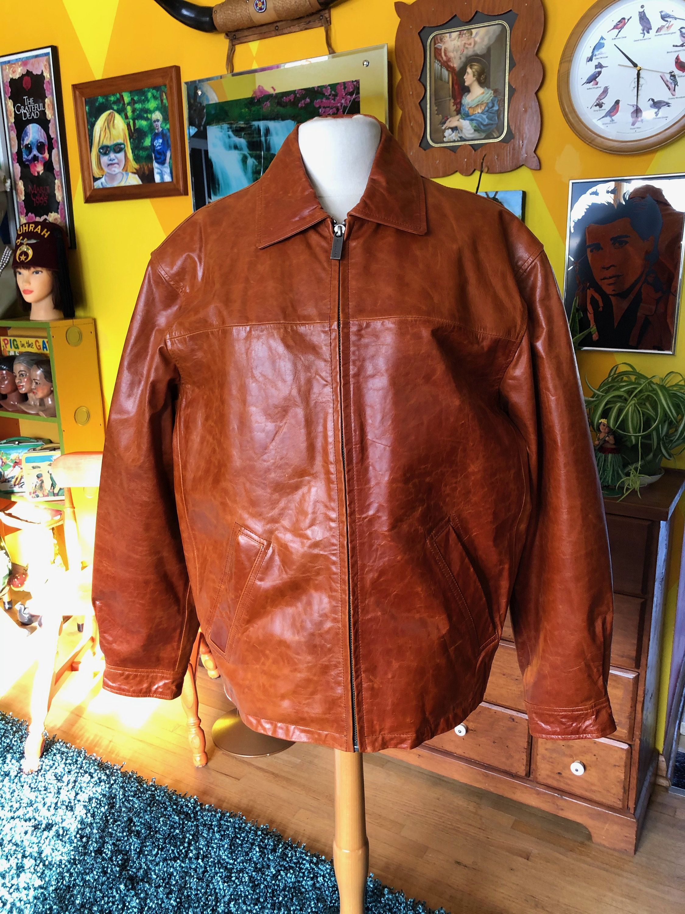 Wilsons Leather Jacket Rust Brown Bronze Color Size Medium