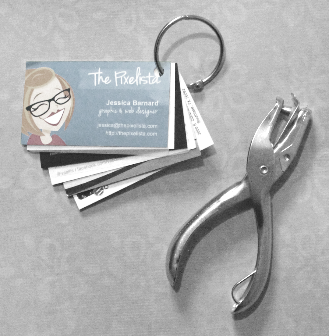 Here is a fantastic idea give them a little one hole punch and a here is a fantastic idea give them a little one hole punch and a key chain ring so they can punch holes in top right corner of all the business cards they reheart