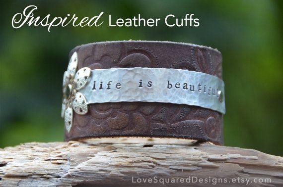 Leather Cuff Bracelet Life Is Beautiful Bracelet Metal Stamped Bracelet Inspired Leather Cuffs Jewelry Words Leather Cuffs Bracelet Metal Stamped Bracelet