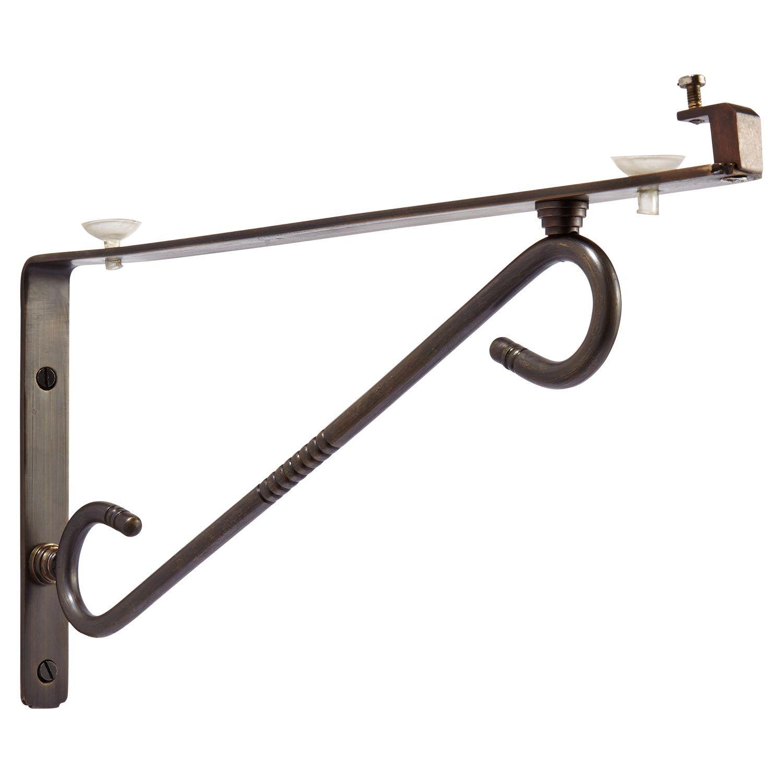 scrolling arm glass shelf bracket