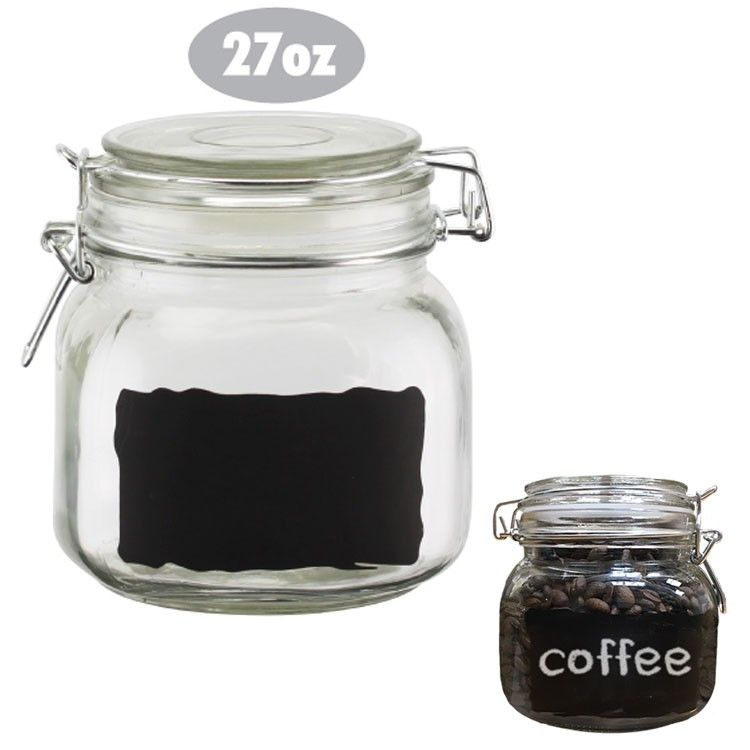 Cucina Vita Chalkboard Label Glass Jar Kitchen Canister 27Oz Clear Glamorous Glass Kitchen Containers Design Inspiration