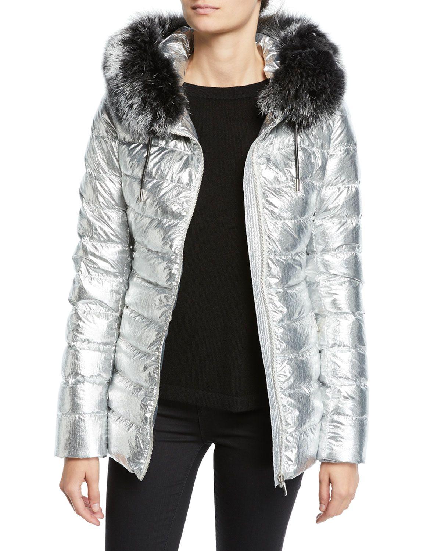 Yves Salomon Army Metallic Puffer Jacket W Fur Trim Mod And Retro Clothing Puffer Jackets Jackets Metallic Jacket [ 1500 x 1200 Pixel ]