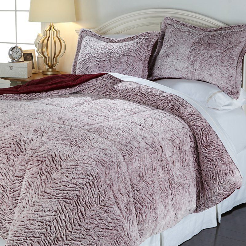 Concierge Collection Soft Cozy Carved Fur Comforter Set Wine Full Queen New Soft Comforter Set Comforter Sets Grey Comforter Sets