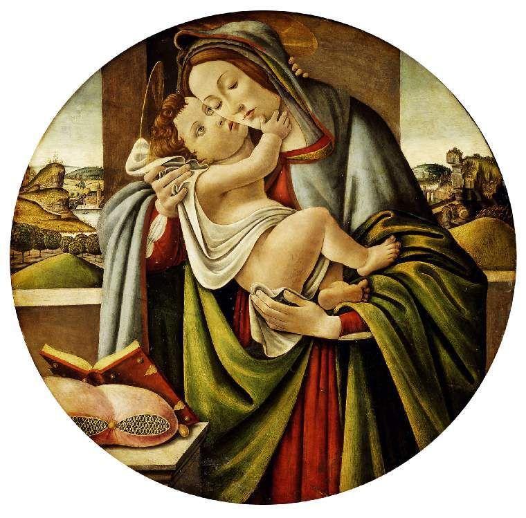 Virgin and Child Botticelli (Alessandro di Mariano Filipepi); painter; studio of; Italian artist, 1444-1510 oil on panel diameter, 80.7, cm