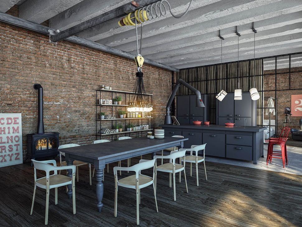Beautiful Industrial Loft Style Interior Design In The Kitchen Area With Modern Dining Industrial Style Kitchen Industrial Decor Kitchen Industrial Loft Design