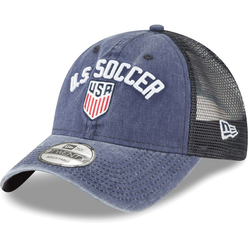 e3e65d35b13 US Soccer New Era Rugged Stack Slouch Trucker Adjustable Hat - Navy ...