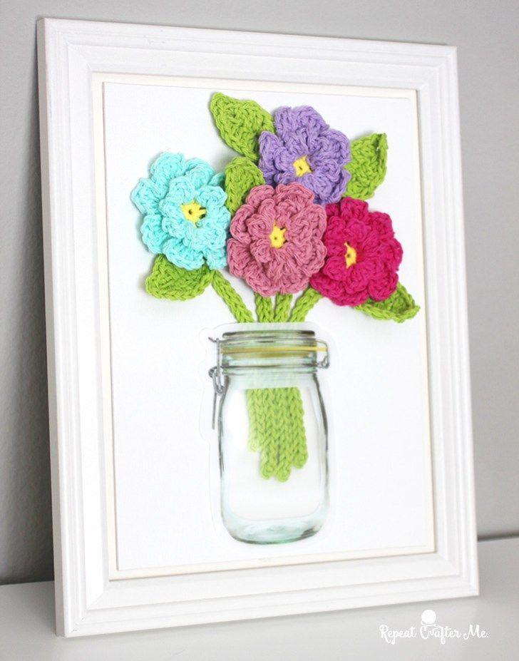 Crochet flowers on canvas crochet wall art crochet