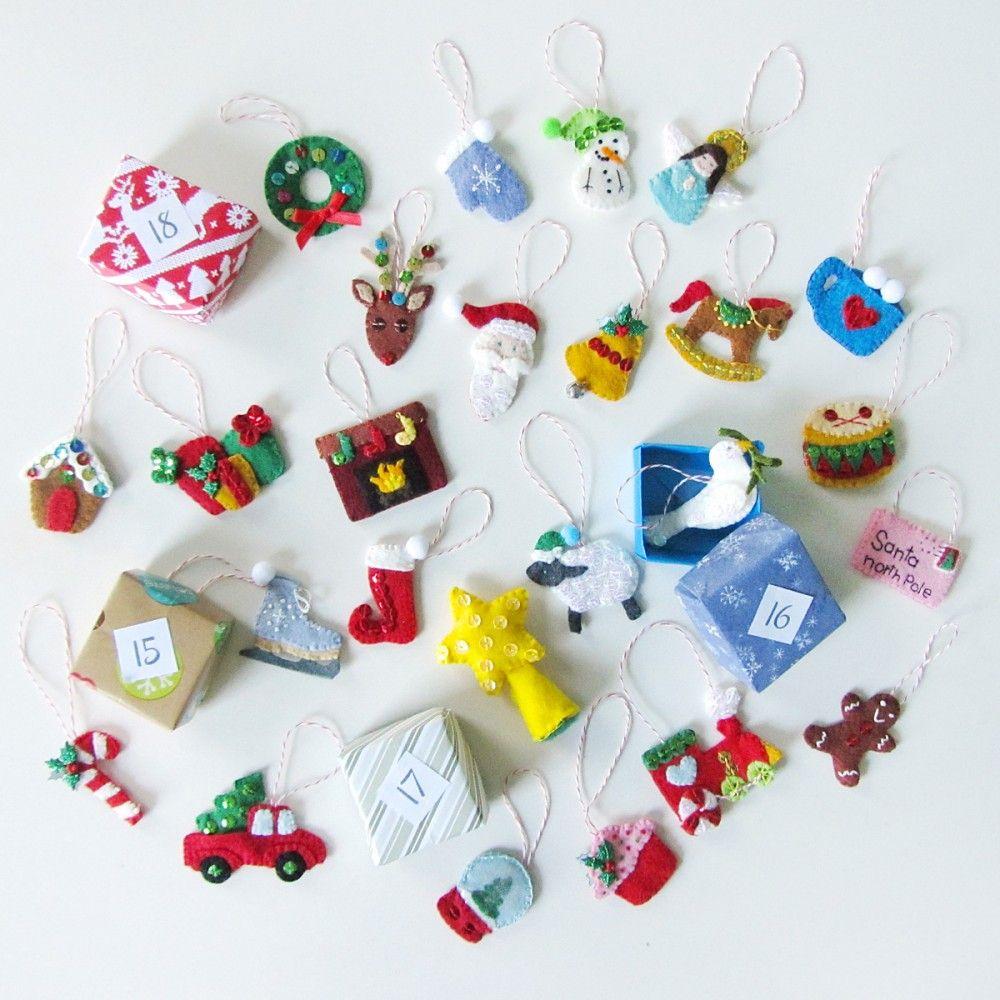 Mini Advent Ornaments Set Four Mini Christmas Ornaments Felt