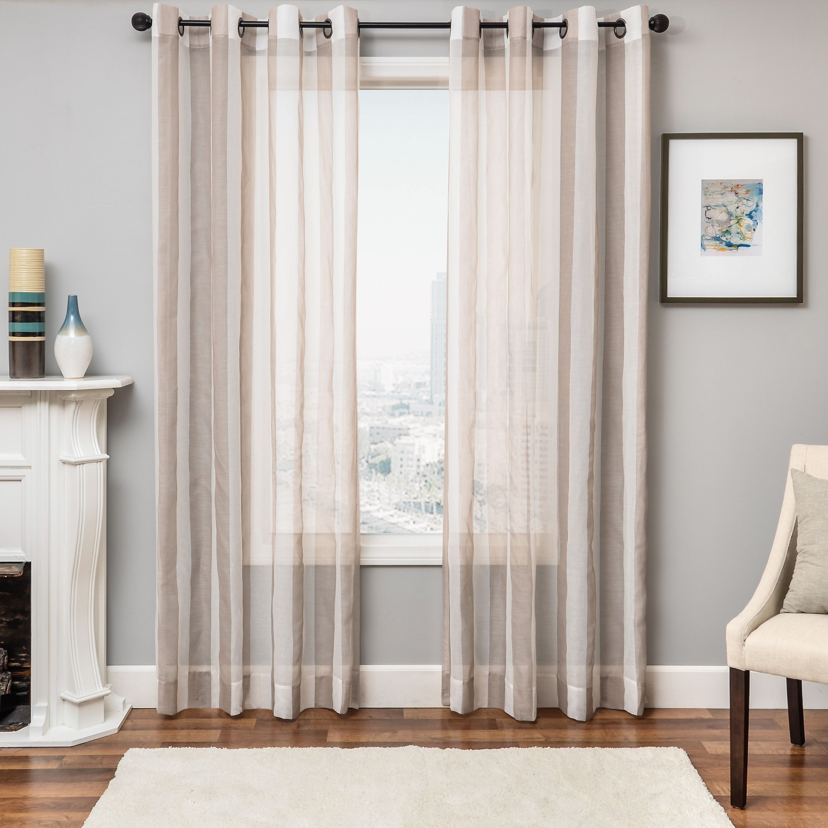 Harbor 84 Sheer Panel Curtain Champagne Drapery Panels Sheer