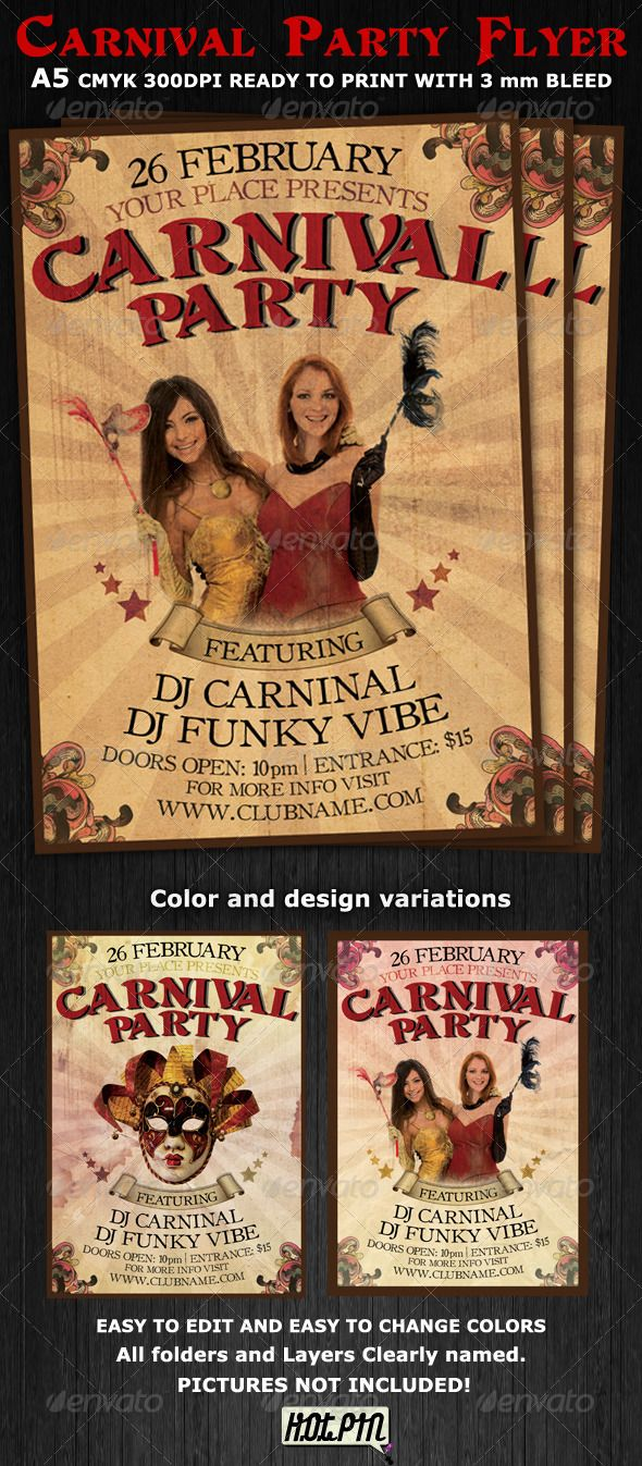 Carnival Club Party Flyer Template V2 – Retro Flyer Templates