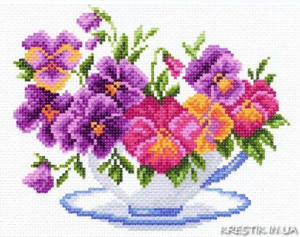 Канва с рисунком для вышивки крестом Чашка с виолой 1287 - Цветы - KRESTIK.IN.UA