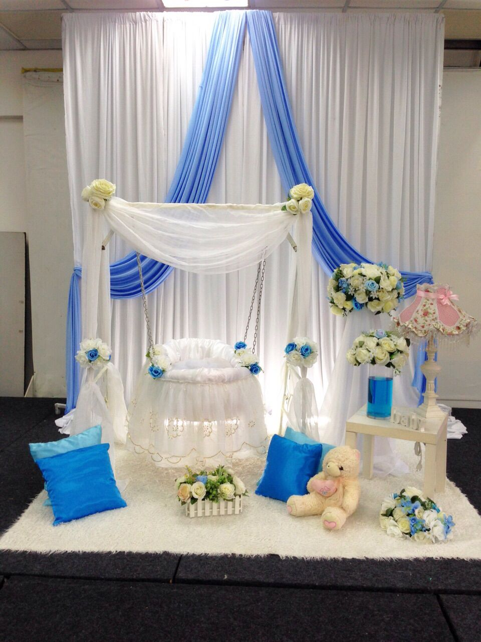 Pelamin buaian berendoi cukur jambul pakej aqiqah sweet for Baby name ceremony decoration