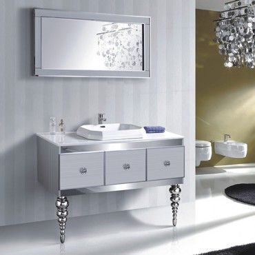 Enhance Your Bathroom With This French Influenced Contemporary Styled Vanity Set White On Silver Modern Sits Two Ornate Legs That