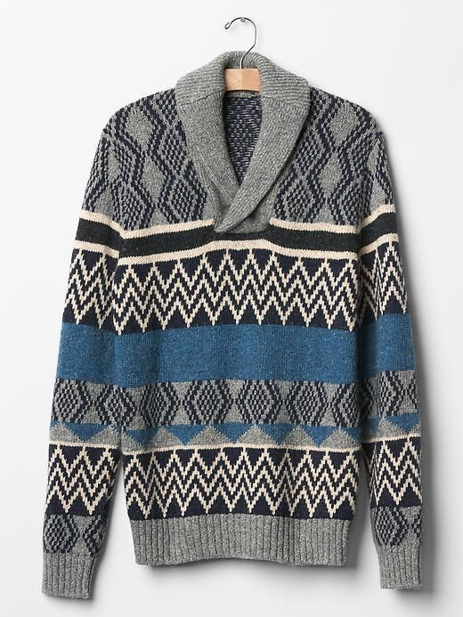 Men GAP Geo Fair Isle Shawl Sweater Alpaca Wool Cotton Grey M L XL ...