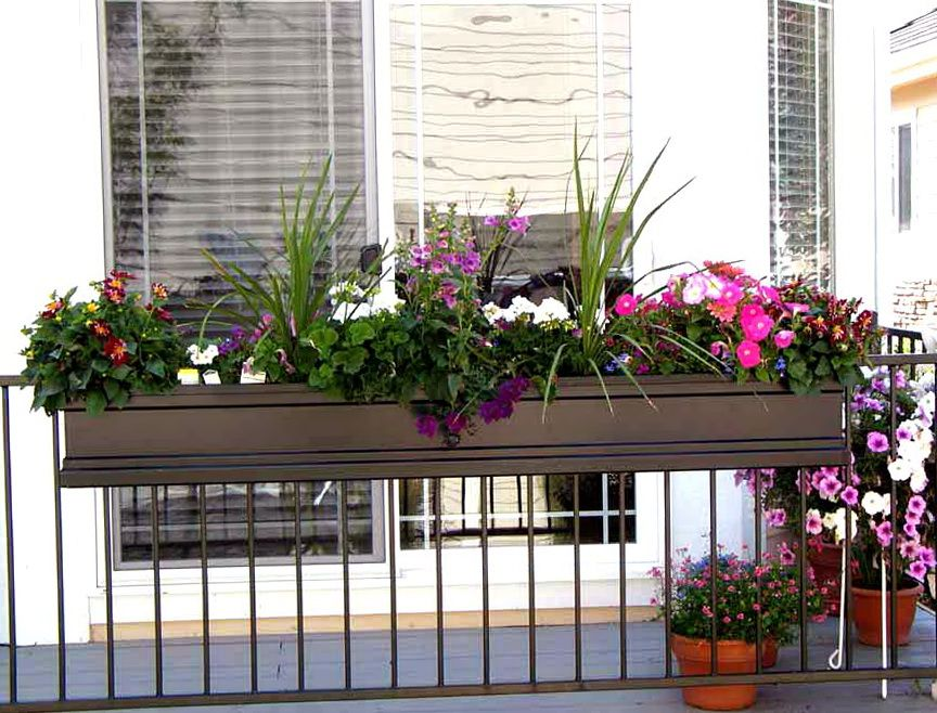self railing rail a decorations great planter deck box design build balcony of for planters watering ideas installing lustwithalaugh image