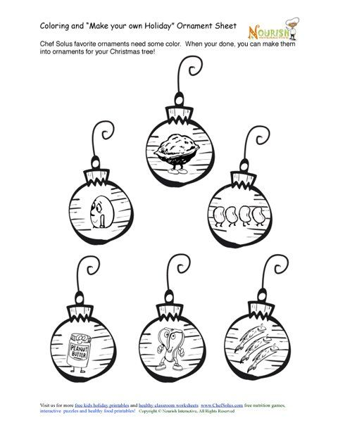 Meat Beans Food Groups Themed Ornaments Coloring Page Yummy