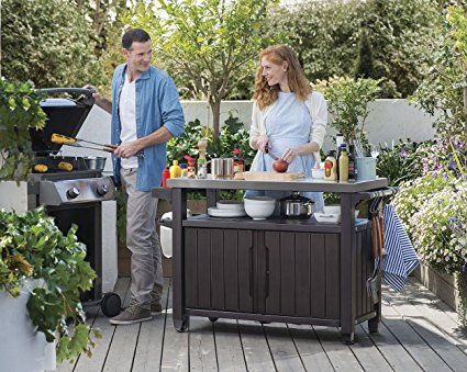 Amazon Com Keter Unity Xl Indoor Outdoor Entertainment Bbq Storage Table Prep Station Serving Cart Wit Outdoor Kitchen Bars Patio Storage Storage Station