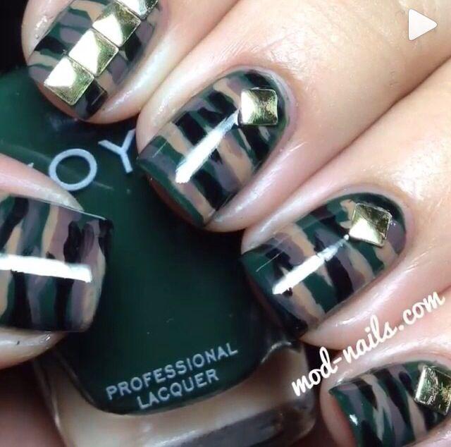 Army nail design! Nail art! Army polish - Army Nail Design! Nail Art! Army Polish Nails Pinterest Army