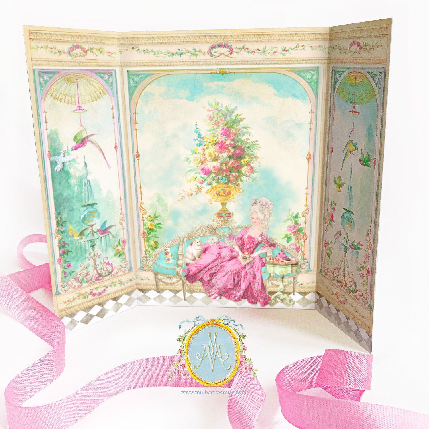 Marie Antoinette card, French Conservatory, Garden room, Parisienne decor, Petite Maison, diorama, roombox card #conservatorygarden