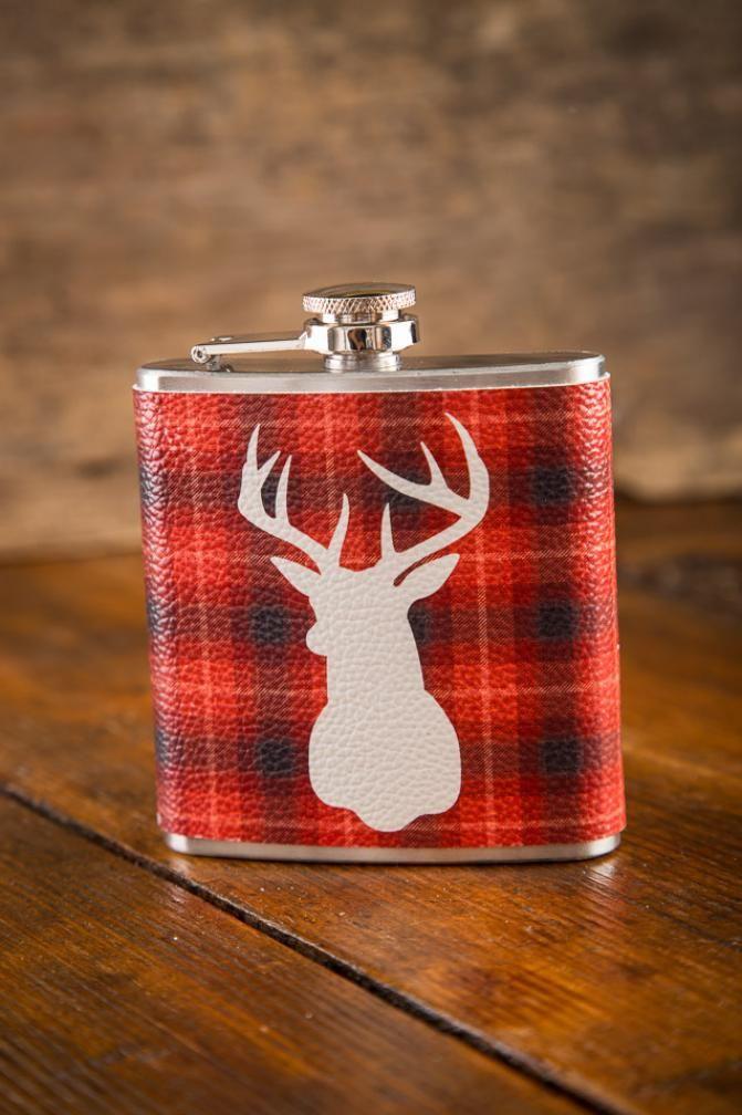 New! Red Plaid Deer Hip Flask on BourbonandBoots.com @Kelli Gilreath