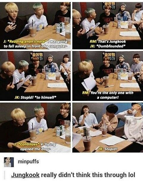 So basically, People weren't suppose to know who wrote who. Jungkook.. Ah.. | BTS | Jin | Suga | J-hope | RapMonster | Jimin | V | Jungkook