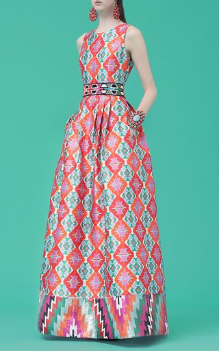 Sleeveless Printed Gown by ANDREW GN for Preorder on Moda Operandi