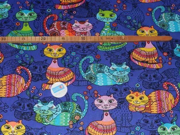Stoff Tiermotive - Timeless Baumwollstoff Exotische Katzen - ein Designerstück von Das-huepfende-Komma bei DaWanda