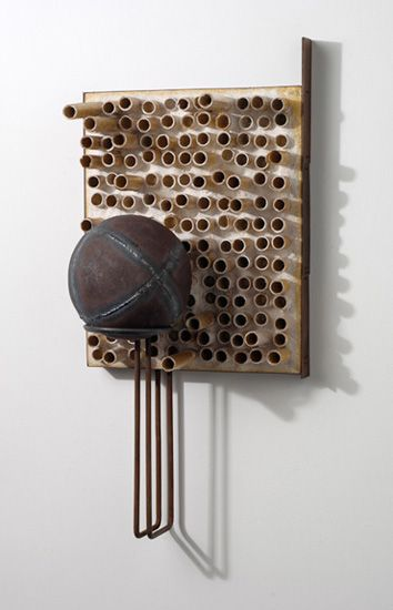 Pamela Wallace |  Atmosphere of Depletion and Corruption, 2004, 23 x 11 x 8 inches, steel, concrete, mica