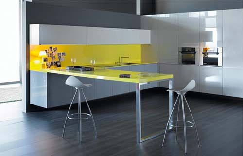 Cocinas Modernas Pequeñas sin Gabinete   Escala de color gris ...