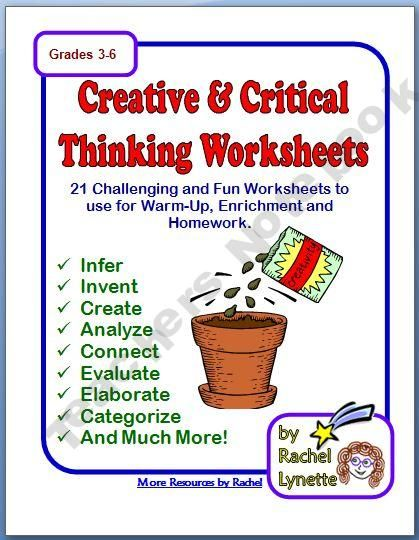 Worksheets Creative Thinking Worksheets creative and critical thinking worksheets for upper level blooms blooms