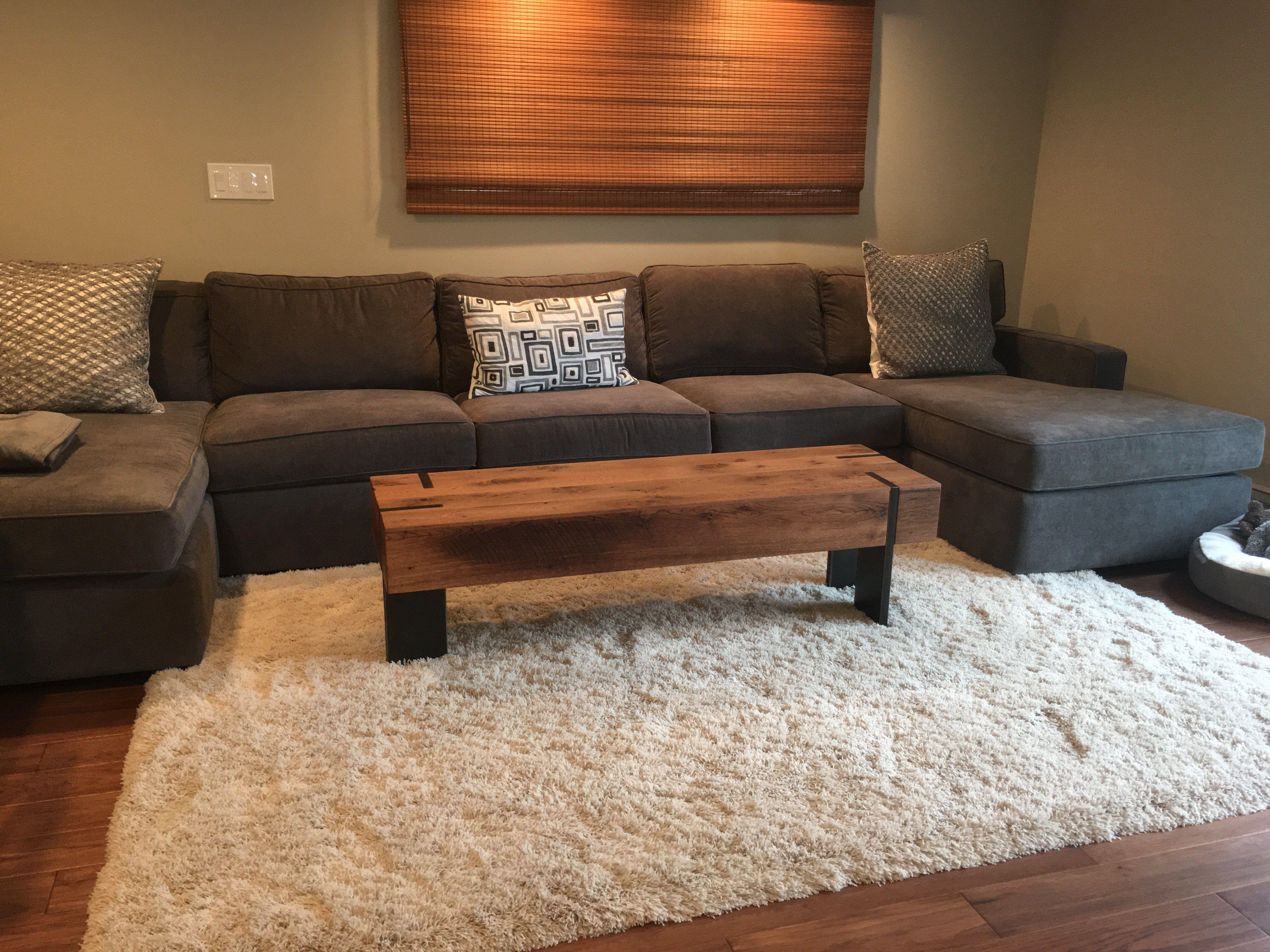 Long Rectangle Modern Reclaimed Wood Coffee Table Solid Steel Legs Reclaimed Wood Coffee Table Coffee Table Wood Artisan Furniture
