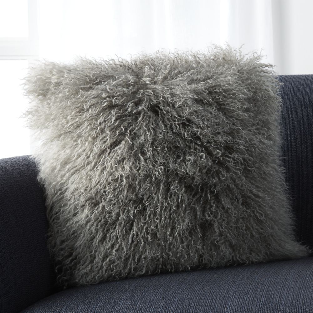 "Pelliccia Silver Grey 16"" Pillow with Down-Alternative Insert - Crate and Barrel"