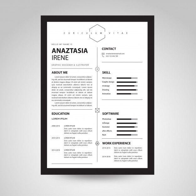 minimalist black  u0026 white cv template