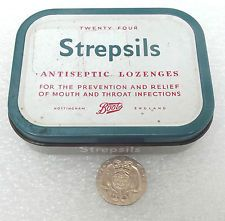 Vintage STREPSILS tin Boots the Chemist EMPTY box for throat lozenges c 1960s