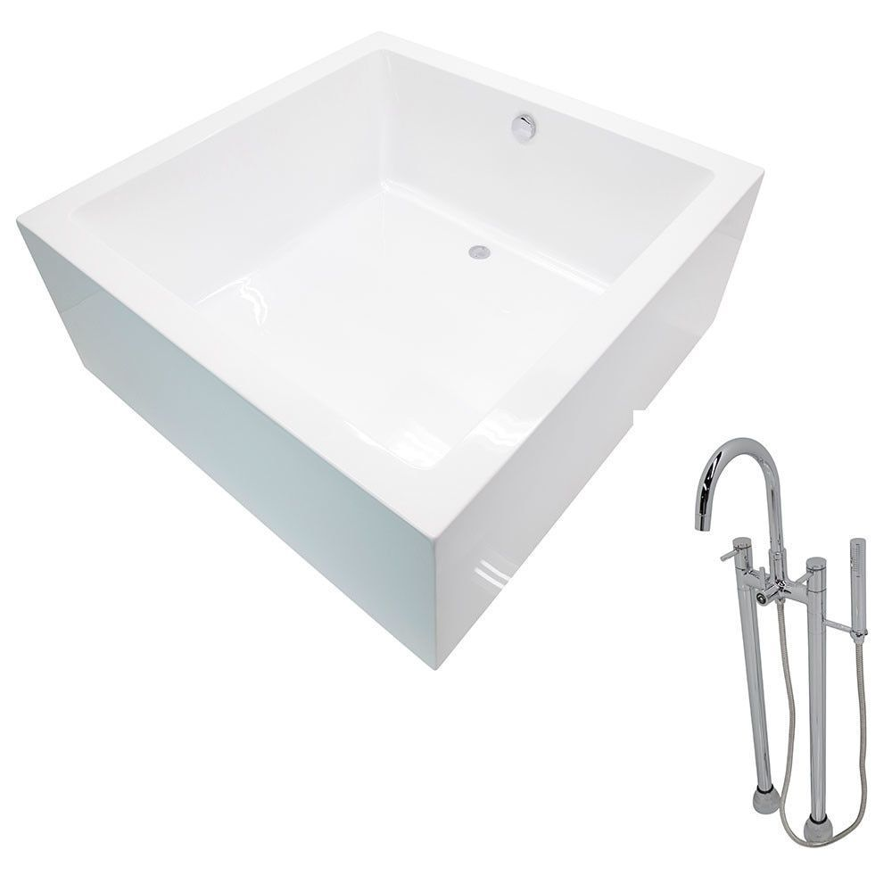 Anzzi Apollo 4.6 Ft. Classic Freestanding Flatbottom Non Whirlpool Bathtub  In And Sol Faucet