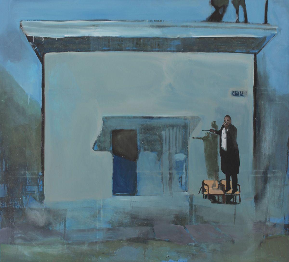 "Noah Davis, ""Pueblo del Rio: Conductor"" (2014), oil on canvas, 69 x 76 in (image courtesy Papillion Art)"