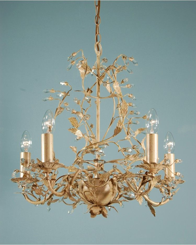 Adele Five Branch Traditional Antique Cream Gold Leaf Chandelier Light Gold Chandeliers Dining Room Chandelier In Living Room Crystal Ceiling Light