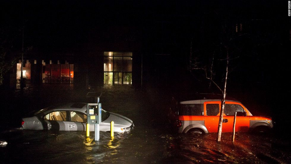 Flooded cars line the streets of new yorks financial