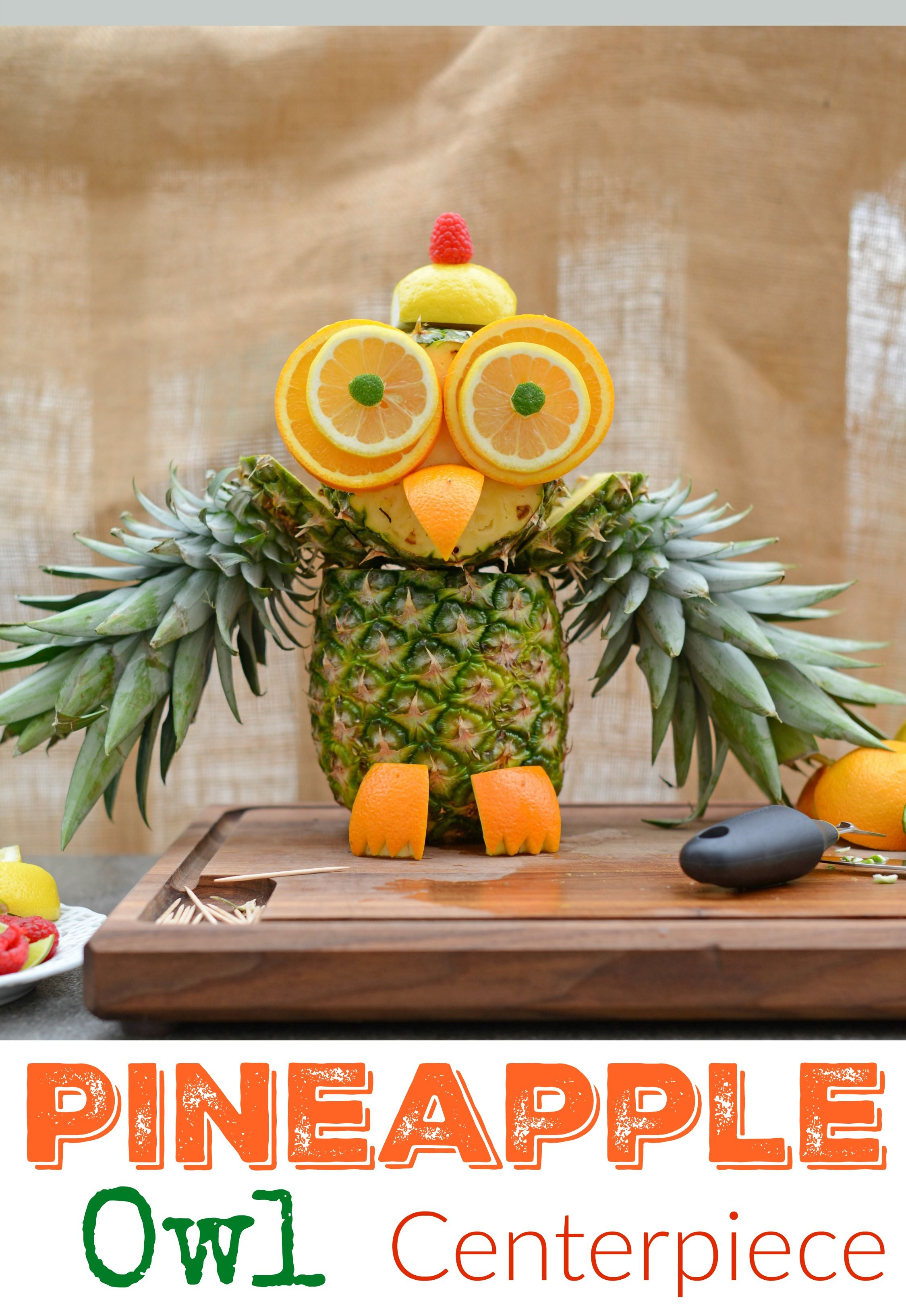 Pineapple owl fruit sculpture take melon craving to a whole new