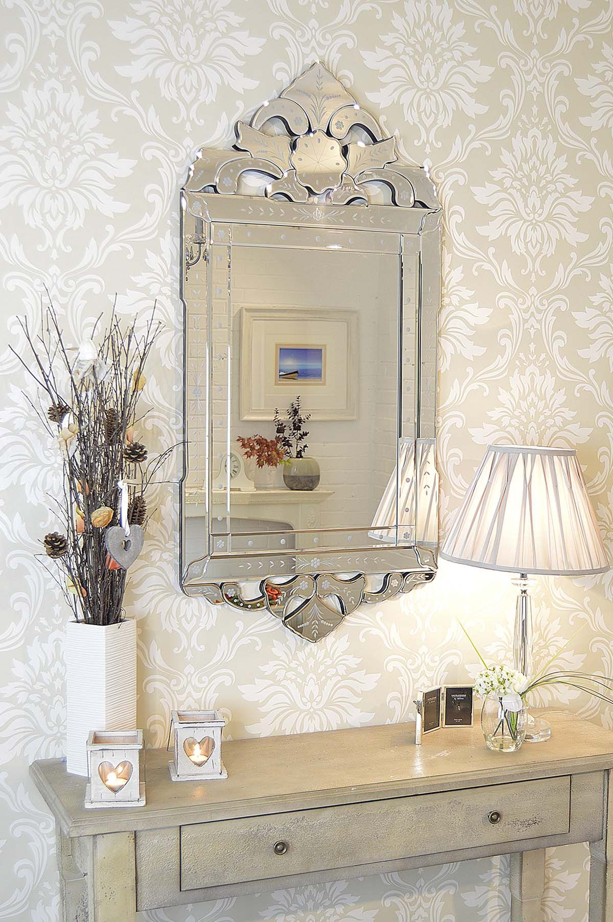 Unique antique style venetian mirror is a unusual crested frame wall ...