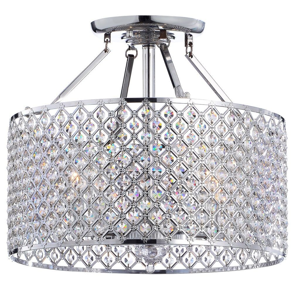 Silver Orchid Taylor Chrome Crystal 4 Light Round Ceiling Chandelier Com