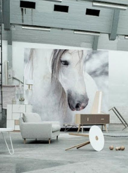 Ideas Wall Decor Design With White Horse Wallpaper