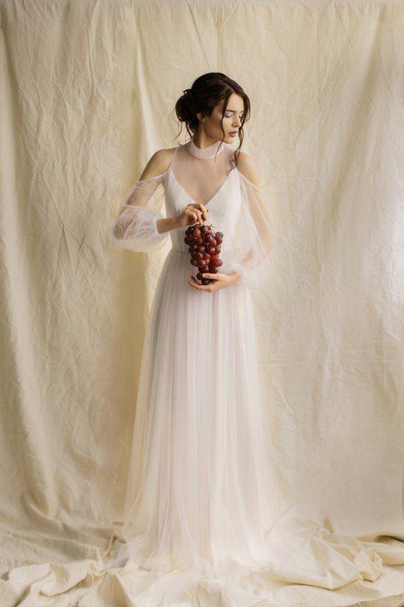 579a9af476 minimalist wedding dress simple boho wedding gown tulle wedding dress  puffed sleeves wedding dress b