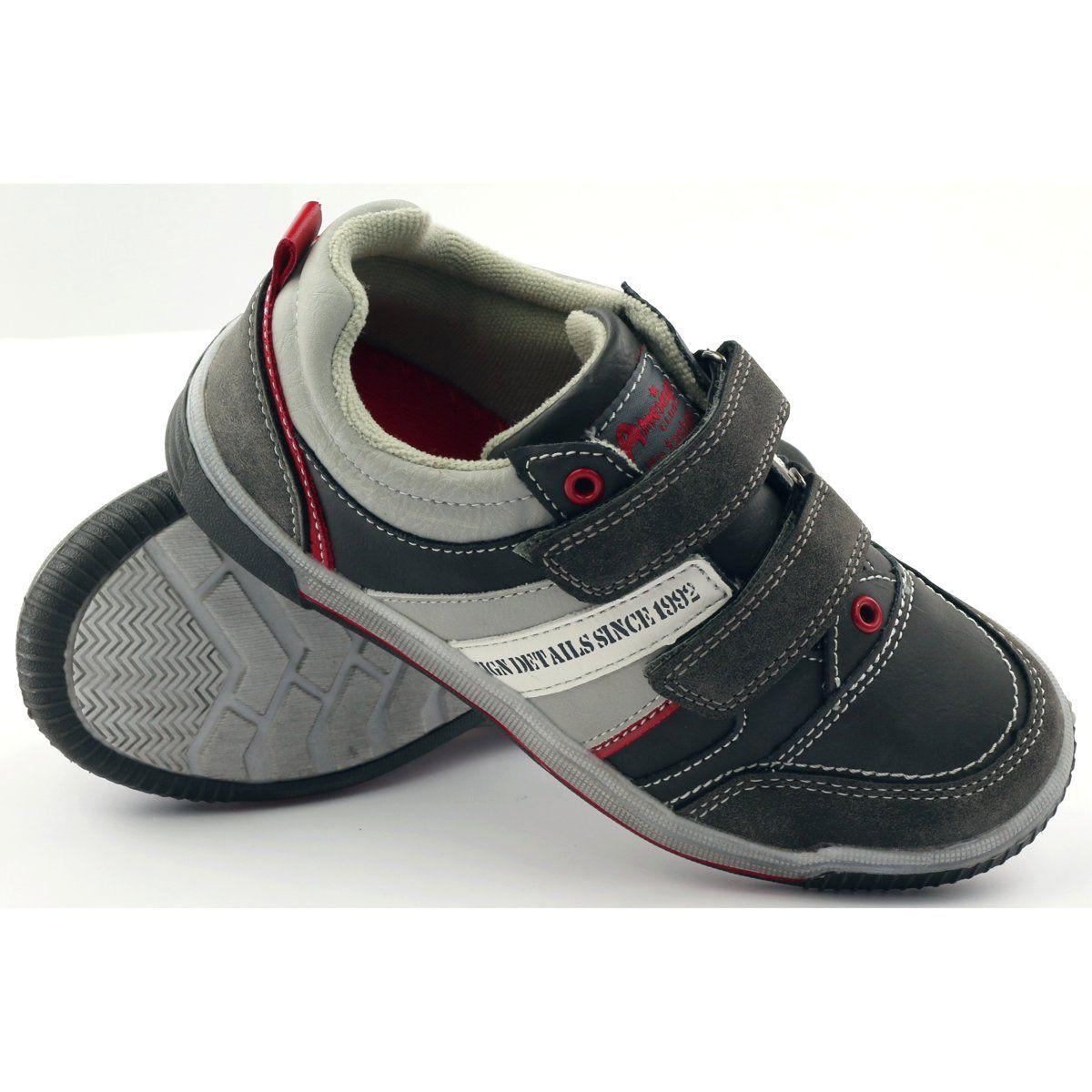 American Club Adi Buty Dzieciece Sportowe Na Rzepy American 152625 Szare Calzado Ninos Calzas Ninos