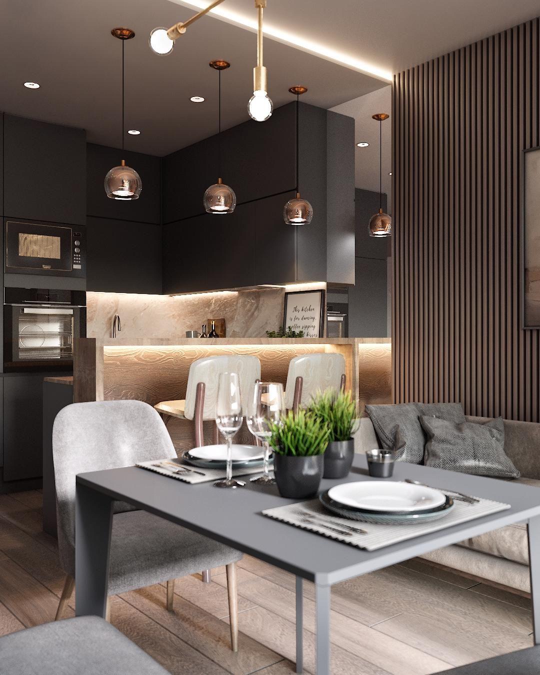 Дизайн комнаты серый цвет. Современная квартира. С