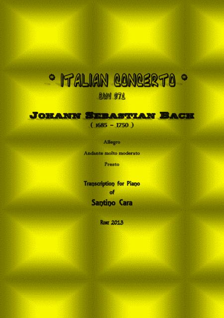 J.S.Bach - Italian Concert BWV 971- Transcription for piano