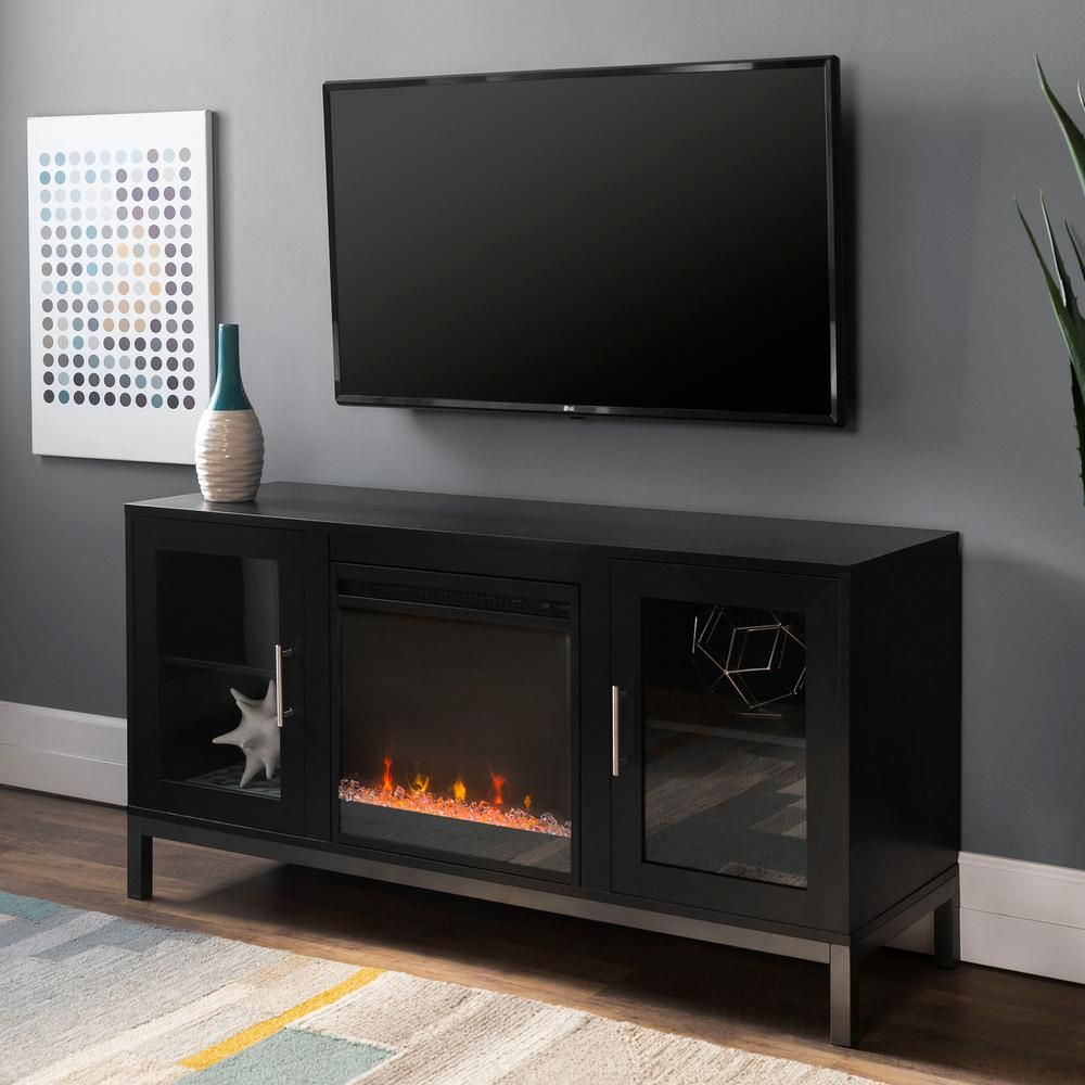 Walker Edison Furniture Company 52 In Avenue Wood Fireplace Tv Console With Metal Legs In Black Hd52fp18avsb The Home Depot Fireplace Tv Stand Fireplace Tv Fireplace Console