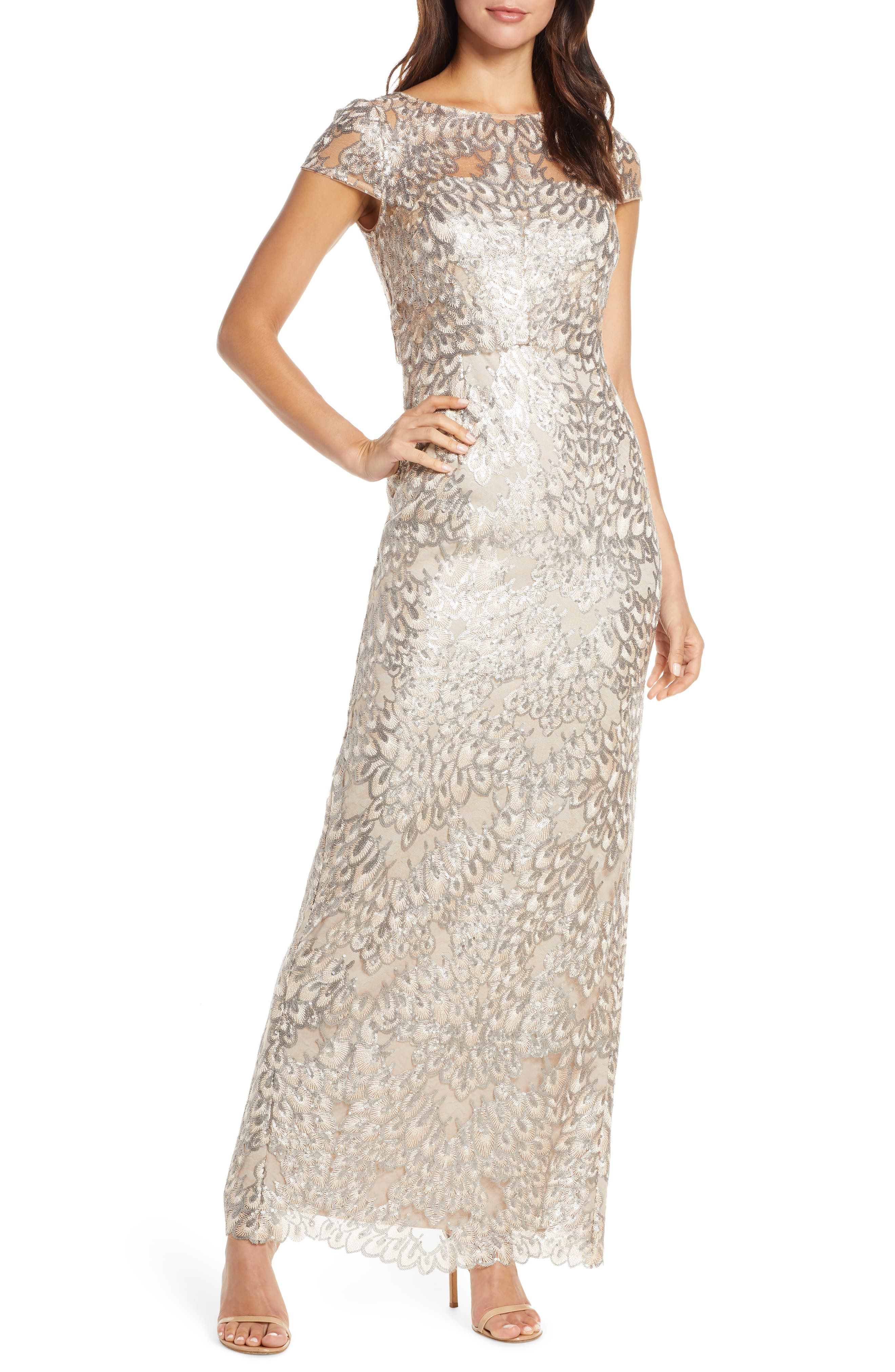 Adrianna Papell Sequin Popover Column Gown Available At Nordstrom Column Gown Women S Fashion Dresses Trending Dresses [ 4048 x 2640 Pixel ]